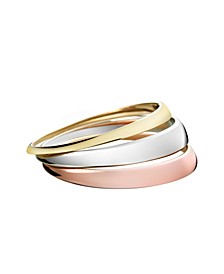Grovvy Stainless Steel and PVD Tri-Color Bangle Bracelet Set