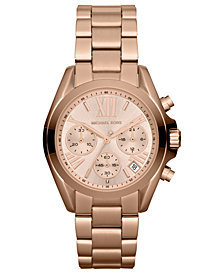 Michael Kors Women's Chronograph Mini Bradshaw Rose Gold-Tone Stainless Steel Bracelet Watch 35mm MK5799
