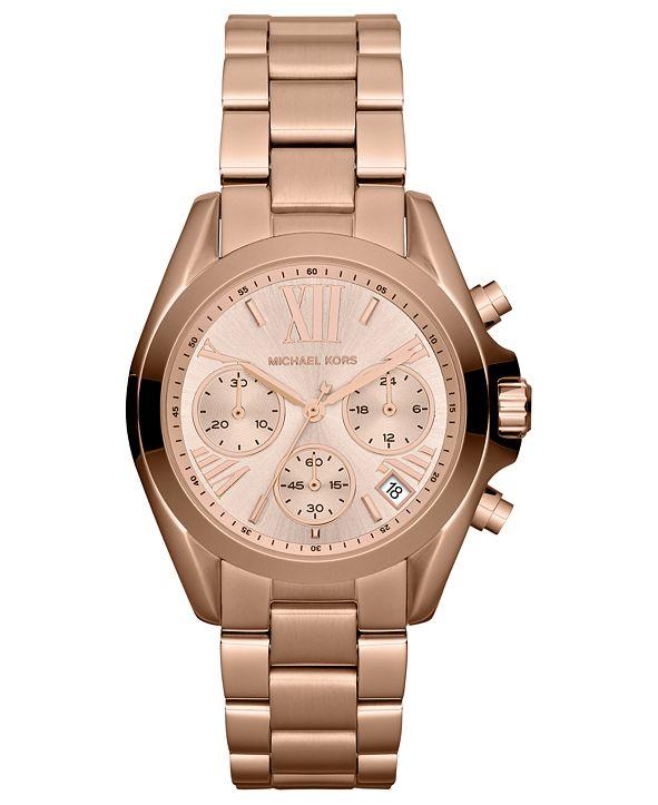 Michael Kors Women's Chronograph Mini Bradshaw Rose Gold-Tone Stainless Steel Bracelet Watch 35mm MK5799