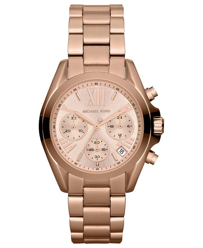 Michael Kors - Women's Chronograph Mini Bradshaw Rose Gold-Tone Stainless Steel Bracelet Watch 35mm MK5799