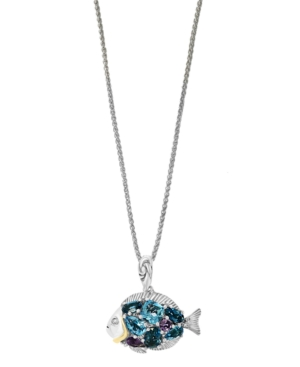 Effy Multi-Gemstone (3-1/2 ct. t.w.) Pendant in 18k Yellow Gold and Sterling Silver