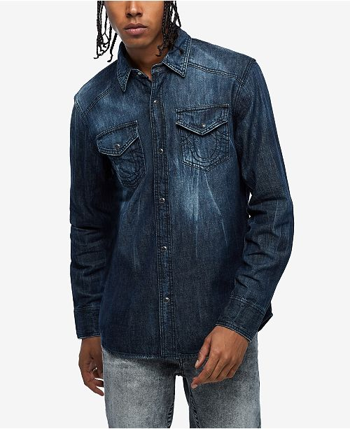 True Religion Men's Denim Utility Shirt