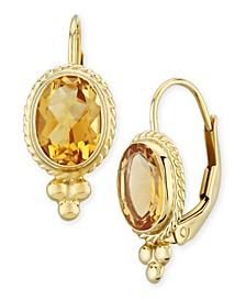 Gemstone Twist Gallery Drop Earring in 14k Yellow Gold Available in Amethyst, Blue Topaz, Citrine, Garnet  or Peridot