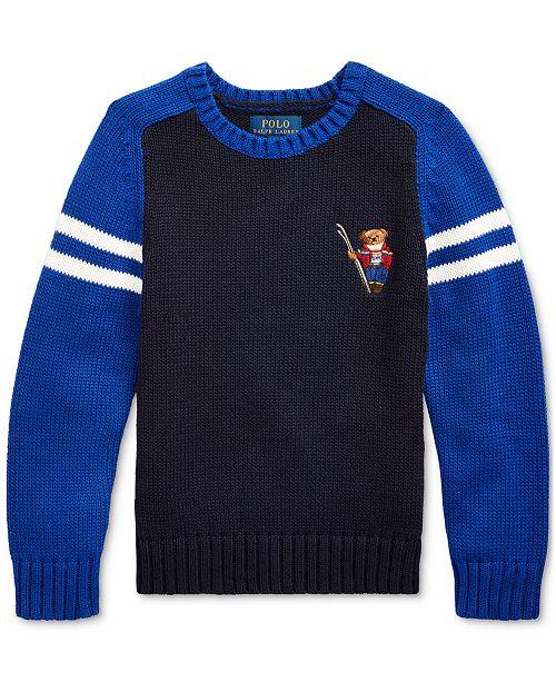 Polo Ralph Lauren Little Boys Ski Bear Cotton Sweater, Created For Macy's