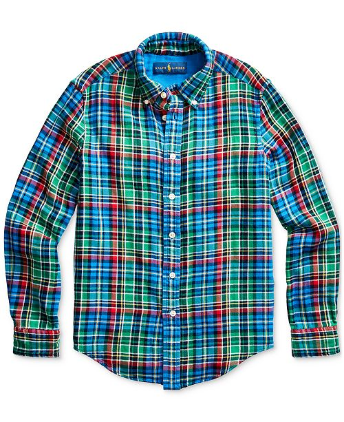 Polo Ralph Lauren Big Boys Plaid Cotton Twill Shirt, Created For Macy's