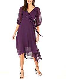 Petite Crinkle Chiffon Faux-Wrap Dress