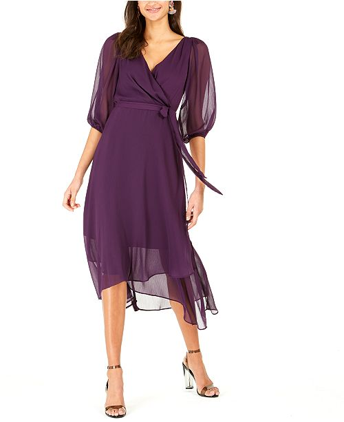 NY Collection Petite Crinkle Chiffon Faux-Wrap Dress