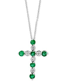 "EFFY® Emerald (1/2 ct. t.w.) & Diamond (1/20 ct. t.w.) 18"" Cross Pendant Necklace in 14k White Gold"