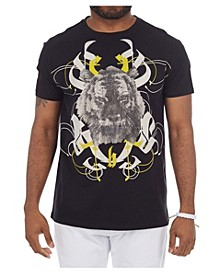 3D Graphic Printed Angry Tiger Rhinestone Studded T-Shirt