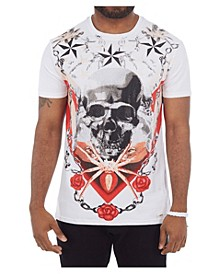 3D Graphic Printed Skull and Roses Rhinestone Studded T-Shirt