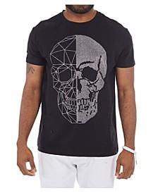 3D Graphic Printed Skull Rhinestone Studded T-Shirt