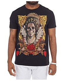 3D Graphic Printed Skulled Queen Studded T-Shirt