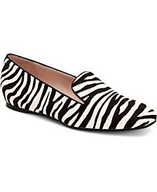 Women's Hanna Zebra-Print Calf-Hair Flats