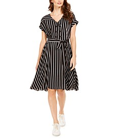 Petite Button-Trim Belted Dress
