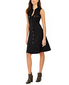 Petite Scuba Crepe Button-Front Dress