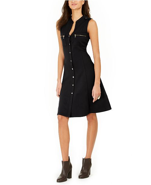 NY Collection Petite Scuba Crepe Button-Front Dress