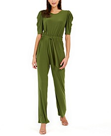 Petite Tie-Front Puff-Sleeve Jumpsuit