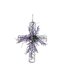 Easter Flower and Twig Cross Wall Decor