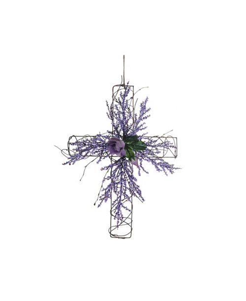 Trans Pac  Easter Flower and Twig Cross Wall Decor