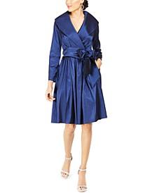 Portrait-Collar Wrap Dress
