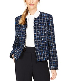 Petite Tweed Open-Front Jacket