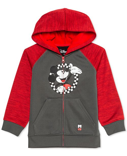 Disney Little Boys Mickey Mouse Checker Circle Colorblocked Hoodie