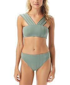 Ripple Effect Solid Convertible Square Neck Bikini Top & High Leg Bottoms