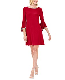 Rhinestone-Trim Bell-Sleeve Dress