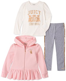 Little Girls 3-Pc. Hooded Fleece Jacket, Logo Top & Leggings Set