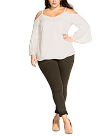 Trendy Plus Size Simple Bell-Sleeve Top