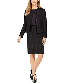 Tweed Blazer, Side-Ruffle Top & Pencil Skirt