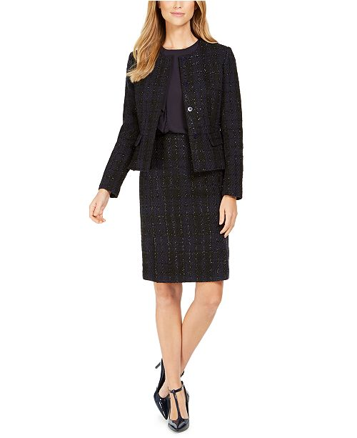Calvin Klein Tweed Blazer, Side-Ruffle Top & Pencil Skirt
