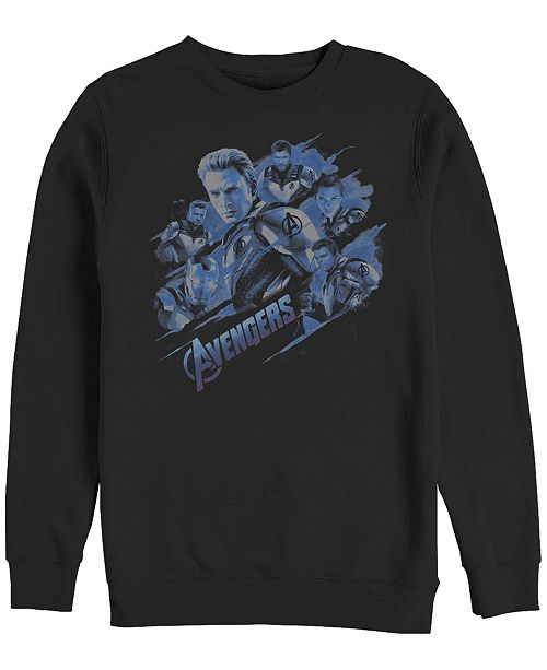 Marvel Men's Avengers Endgame Captain America Group, Crewneck Fleece