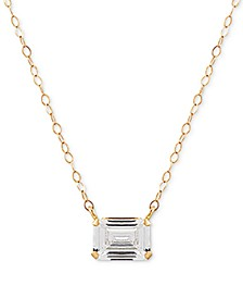 "Swarovski Zirconia Solitiare 18"" Pendant Necklace in 14k Gold"