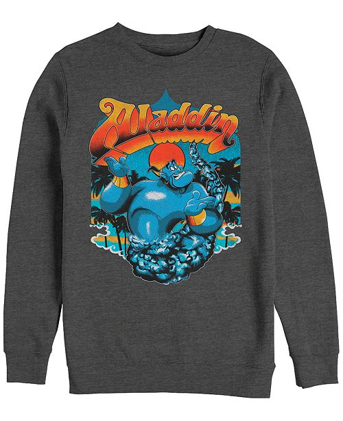 Disney Men's Aladdin Distressed Genie Retro Logo, Crewneck Fleece