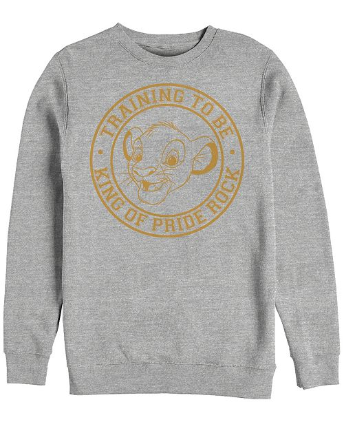 Disney Men's Lion King Simba King in Training, Crewneck Fleece