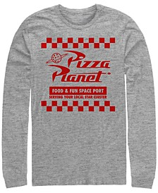 Pixar Men's Toy Story Pizza Planet Checkered Logo, Long Sleeve T-Shirt
