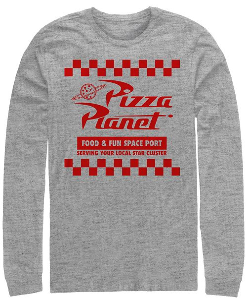Disney Pixar Men's Toy Story Pizza Planet Checkered Logo, Long Sleeve T-Shirt