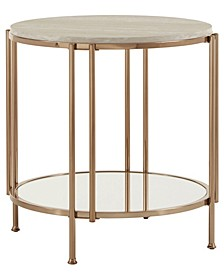 Celsus 2-Piece Occasional Table Set with Faux Marble Top and Mirror Bottom