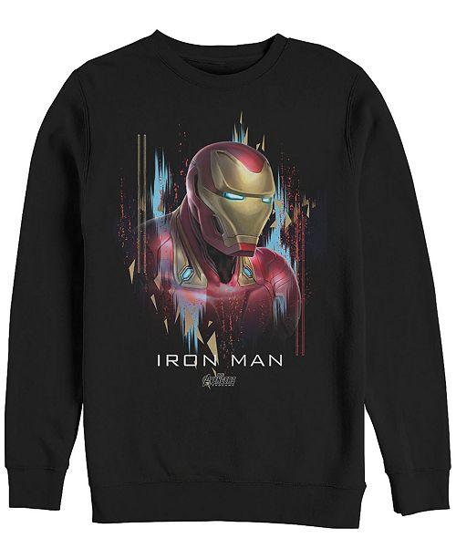 Marvel Men's Avengers Endgame Iron Man Side View Portrait, Crewneck Fleece