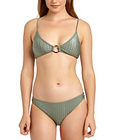 Juniors' Shiny Rib Triangle Bikini Top & Hipster Bottoms, Created for Macy's