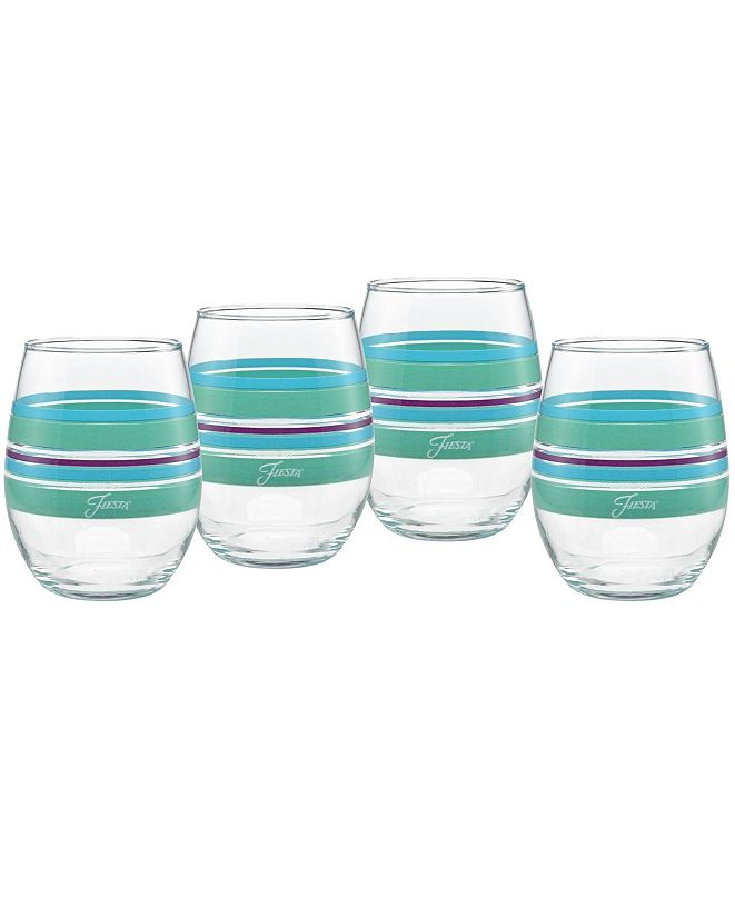 Fiesta Farmhouse Chic Stripes 15-Ounce Stemless Wine Glass Set of 4