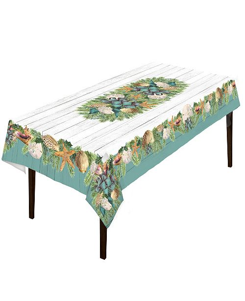 """Laural Home Christmas By The Sea Tablecloth - 70"""" x 120"""""""
