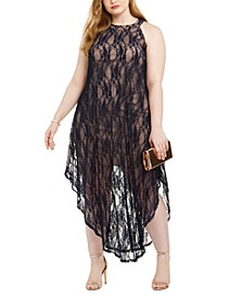 Trendy Plus Size Lace Overlay Dress