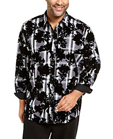 INC Men's Big & Tall  Flocked Plaid Shirt, Created for Macy's
