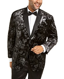 INC Men's Big and Tall Foil Printed Velvet Blazer, Created For Macy's