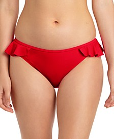 Juniors' Solid Ruffled Hipster Bikini Bottoms, Created For Macy's