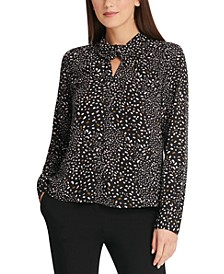 Confetti-Print Twist-Neck Top