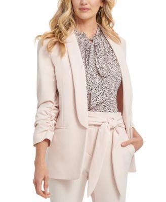 Petite Shawl-Collar Ruched-Sleeve Blazer