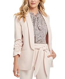 Shawl-Collar Ruched-Sleeve Blazer